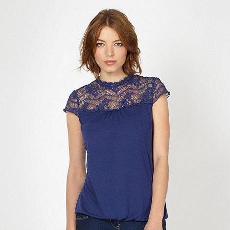 Red Herring - Navy lace neck top