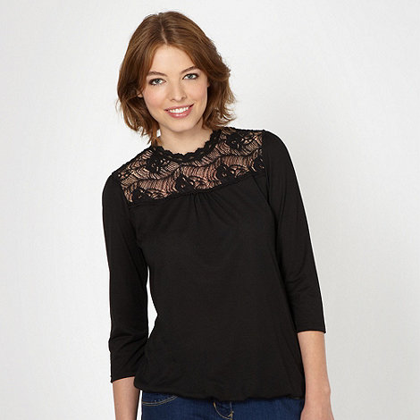 Red Herring - Black lace insert bubble hem top