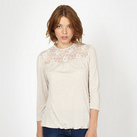 Red Herring - Cream lace insert bubble hem top