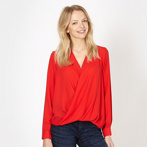 Red Herring - Red wrap front chiffon top