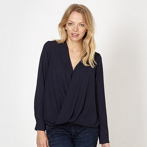 Red Herring - Navy wrap front chiffon top