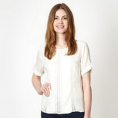 Red Herring - Ivory pintuck and crochet top