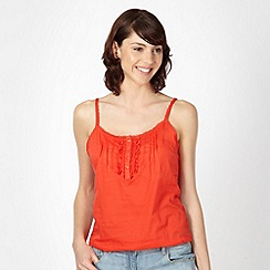 Red Herring - Red trim pleated cami