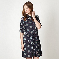 Red Herring - Navy floral hearts shirt dress