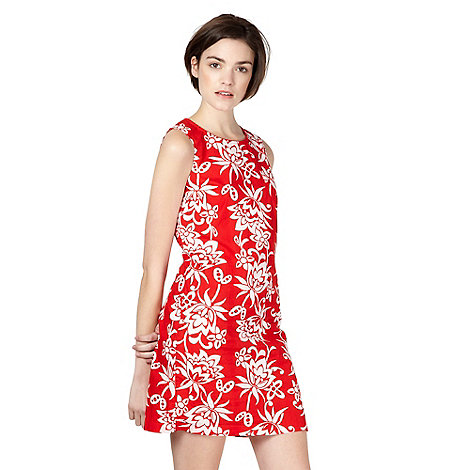 Red Herring - Red floral printed shift dress