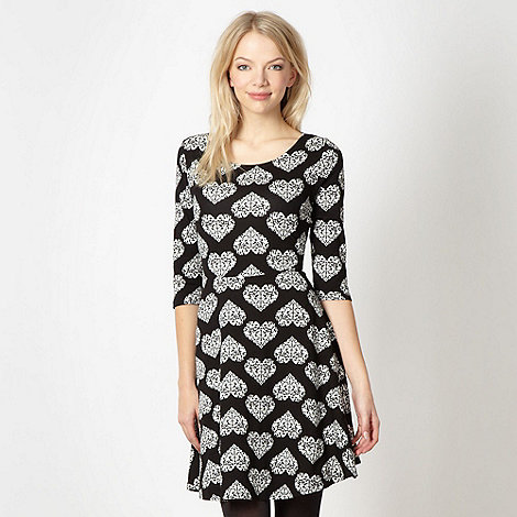 Red Herring - Black heart pattern skater dress