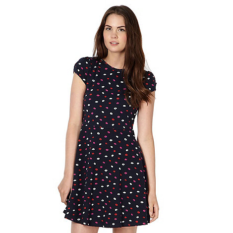 Red Herring - Navy lipstick print skater dress