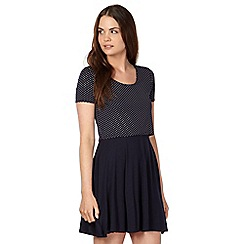 Red Herring - Navy spotted 2-in-1 jersey dress