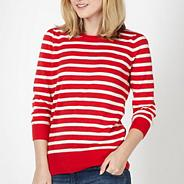 Red pointelle striped jumper