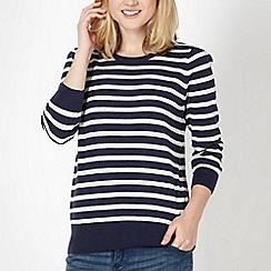 Red Herring - Navy pointelle striped jumper