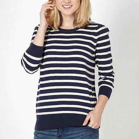 Red Herring - Navy pointelle striped jumper