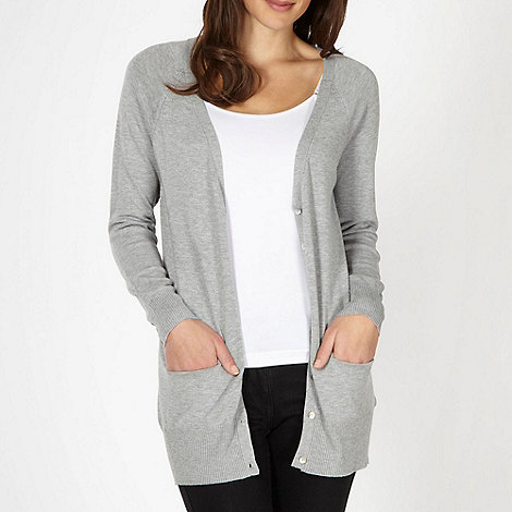 Red Herring - Grey longline V neck cardigan