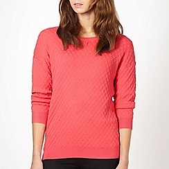 Red Herring - Pink diamond textured jumper