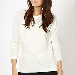 Red Herring - Cream pointelle heart jumper