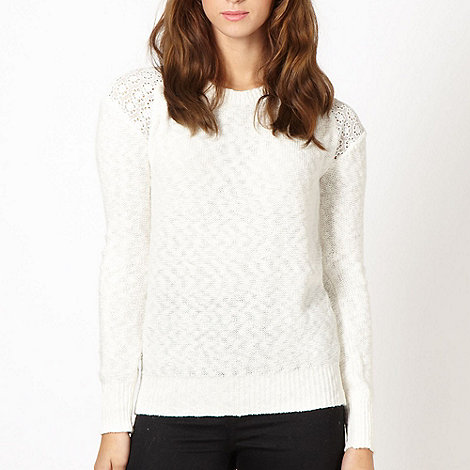 Red Herring - Cream lace shoulder jumper