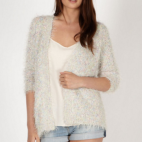 Red Herring - Cream space dye eyelash knit cardigan