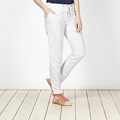 Red Herring - White tapered drawstring trousers