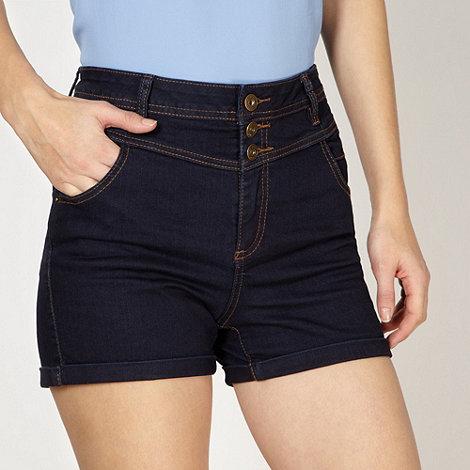 Red Herring - Dark blue high waisted denim shorts