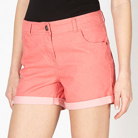 Red Herring - Coral cotton twill shorts