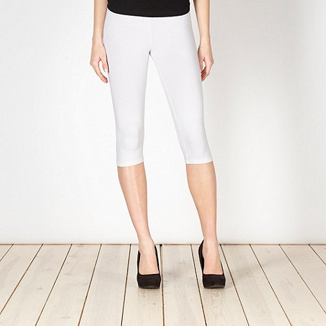 Red Herring - White plain cropped leggings