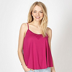Red Herring - Dark pink crochet swing camisole