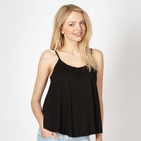 Red Herring - Black crochet swing camisole