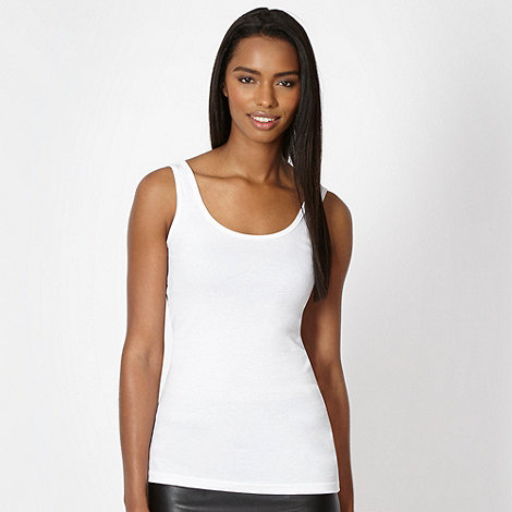 Red Herring - White plain ribbed vest