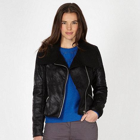 Red Herring - Black fleece lined biker jacket