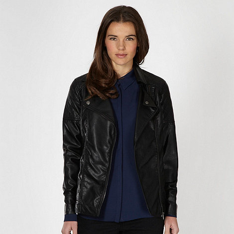 Red Herring - Black longer length PU jacket