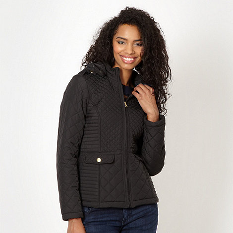 Red Herring - Black quilted hooded jacket