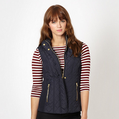 Red Herring - Navy quilted funnel neck gilet