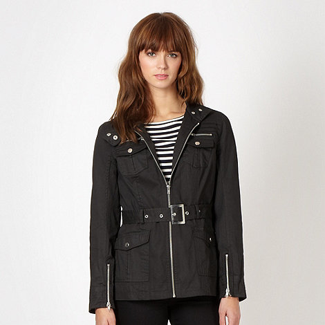 Red Herring - Black waxed belted jacket