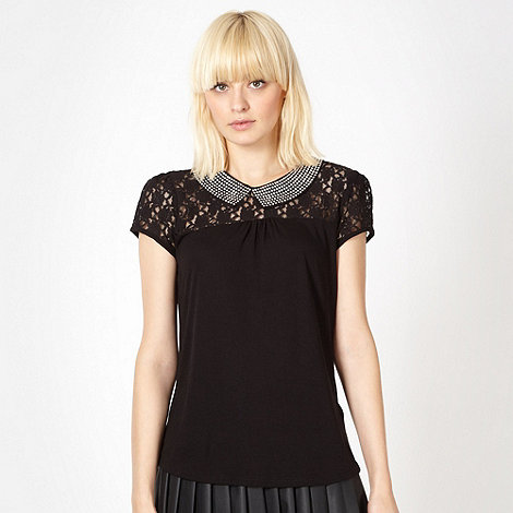 Red Herring - Black studded collar lace insert top
