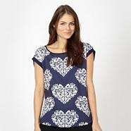 Navy oversized heart patterned top