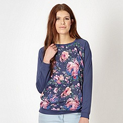 Red Herring - Navy woven floral front sweater