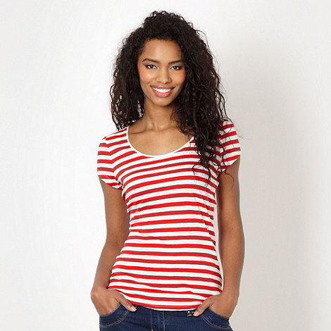 Red Herring - Red striped scoop neck t-shirt