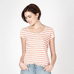 Red Herring - Coral striped scoop neck t-shirt
