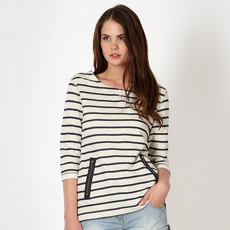Red Herring - Navy striped zip detail sweat top