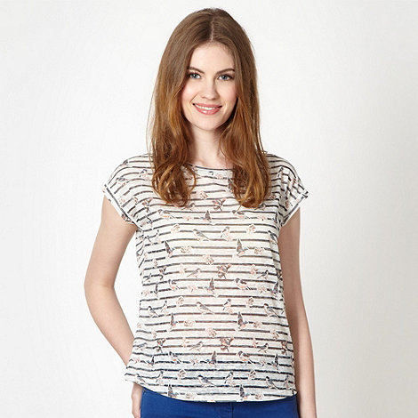 Red Herring - Off white birds and stripes burnout t-shirt