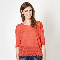 Red Herring - Peach stitch striped top