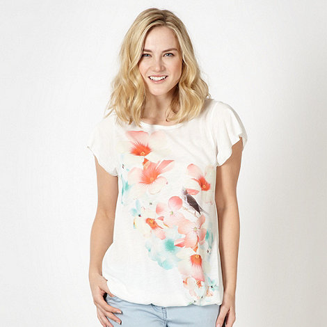 Red Herring - Ivory graphic floral bubble hem t-shirt