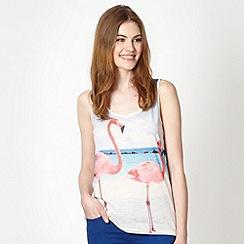 Red Herring - Ivory flamingos beach scene vest