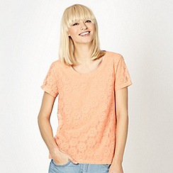 Red Herring - Light peach lace front shell top