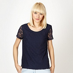 Red Herring - Navy lace front shell top