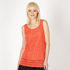 Red Herring - Orange brushed aztec lace vest