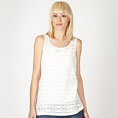 Red Herring - Ivory brushed aztec lace vest