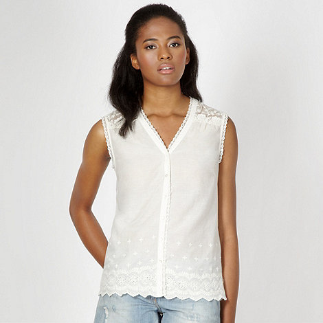 Red Herring - Ivory lace insert blouse