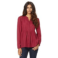 Red Herring - Wine long sleeve smock top