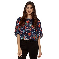 Red Herring - Navy floral kimono top