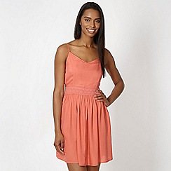 Red Herring - Coral lace insert dress